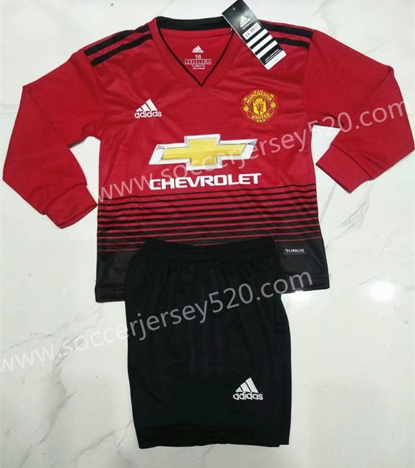 8f9d92526d8 2018-19 Manchester United Home Red LS Kids Youth Soccer Uniform ...