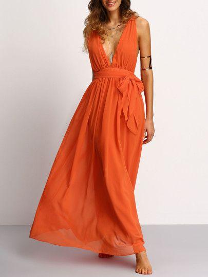 Orange Deep V Neck Self-tie Waist Maxi Dress