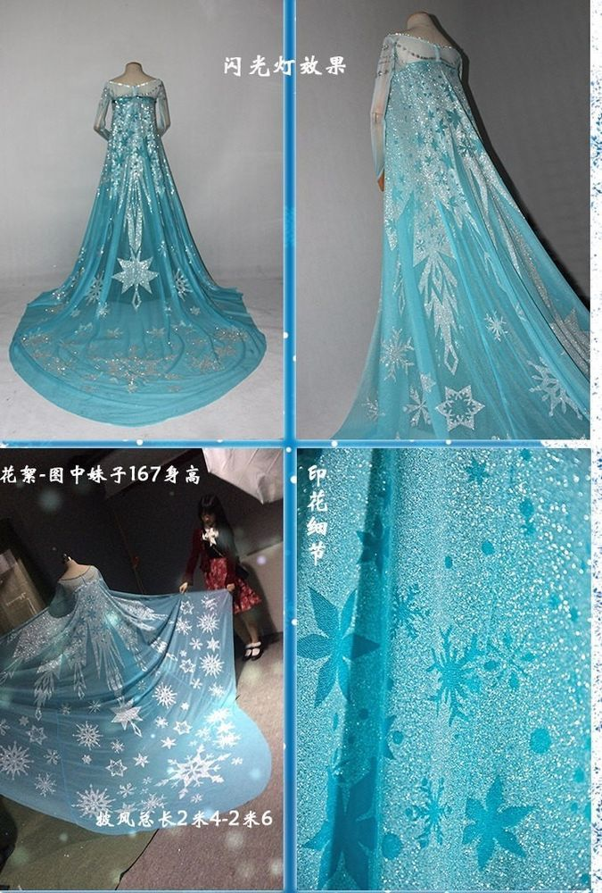 cloak A for Frozen Snow Queen ELSA Cosplay Costume Dress tailor cloak cape long