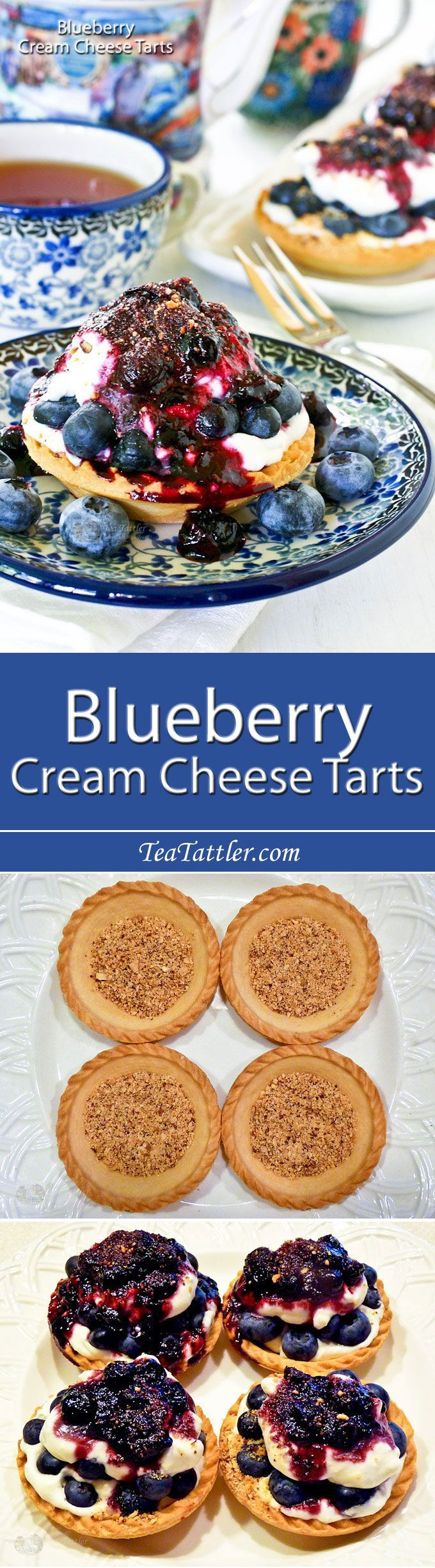 Easy to assemble Blueberry Cream Cheese Tarts using ready-to-fill tart shells. Only minutes to prepare the toppings and sauce on the stove top.   http://TeaTattler.com