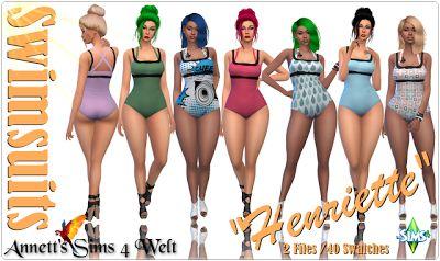 The Sims 4 Mody: Stroje kąpielowe Henriette od Annett