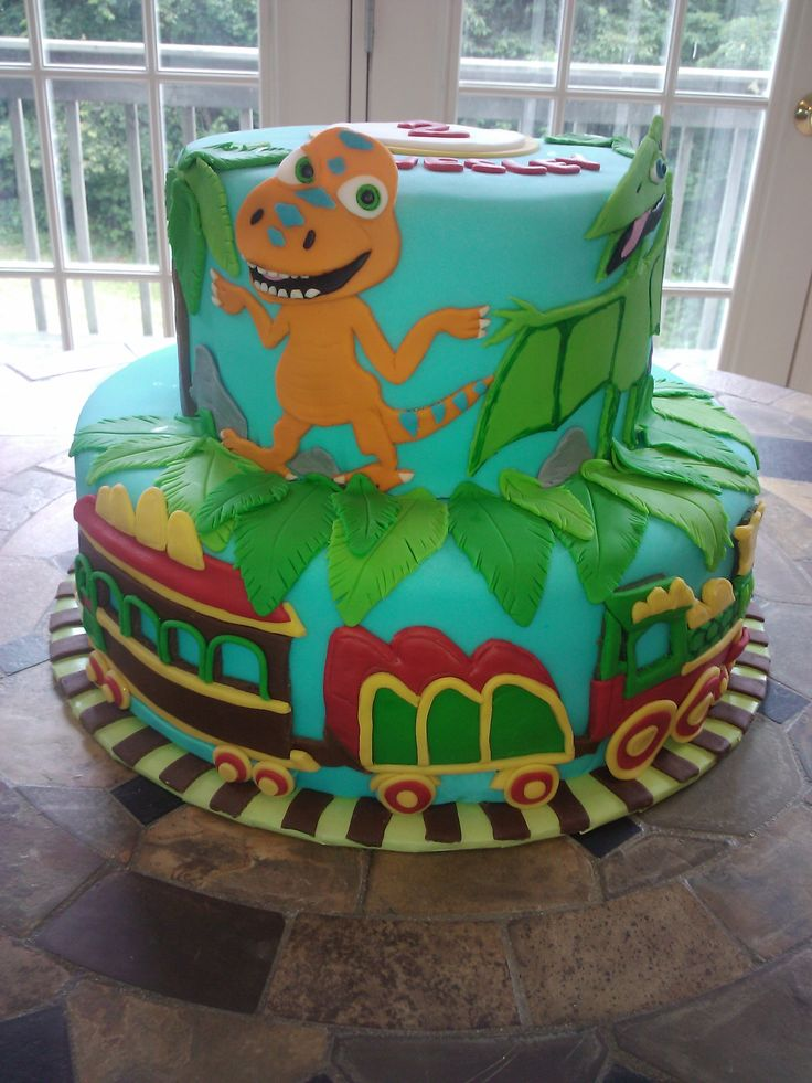 dinosaur train birthday cake - Everything is made from fondant- free hand cut and painted/drawn