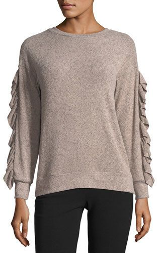 Casual Couture Ruffled-Trim Marled Sweater