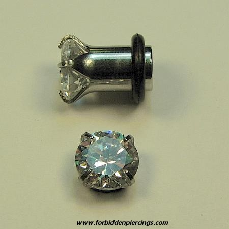 Gauge Piercing | Gauge Plugs Forbidden Piercings Airplane Clear CZ Ear Gauges 12 Gauge ...