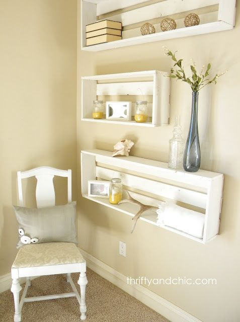 I LOVE these little DIY Crate Shelves! They look like something you'd see in a beach cottage:)