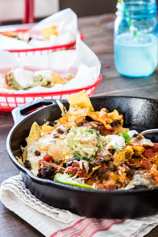 Skillet Nachos | Even though these skillet nachos weren't originally on the list, there are too many things about them that I felt you needed to know about, that I couldn't not share them. So here they are. The number one thing that you need to know is that they are fantastically delicious. | From: jellytoastblog.com