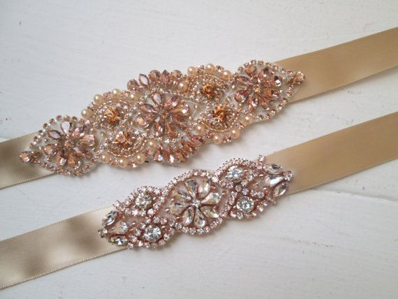 Rose Gold & Champagne Bridal Bracelet set of by GibsonGirlGarters