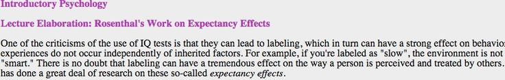 A psychology professor's lecture notes about Bob Rosenthal's work on expectancy effects