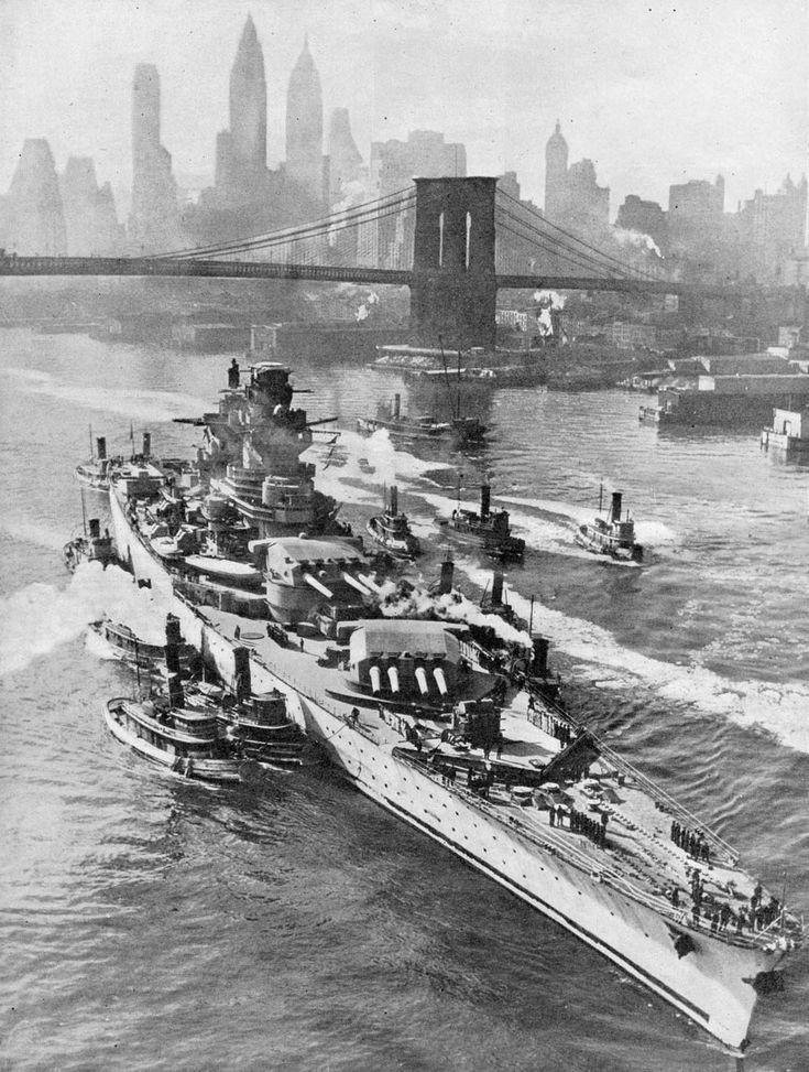 French battleship Richelieu being taken for repair in New York October 1943 (960 x 1270)