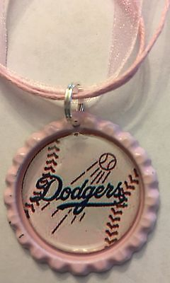 Handmade Los Angeles Dodgers Baseball Inspired Bottle Cap Organza Voile Necklace