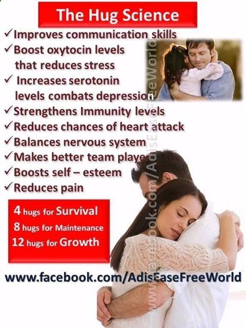 COMMUNICATE WITH A HUG FOR SURVIVAL MAINTAINENCE OR GROWTH The science of Hugging Hugging therapy is definitely a powerful way of healing. Research shows that hugging (and also laughter) is extremely effective at healing sickness, disease, loneliness, depression, anxiety and stress.