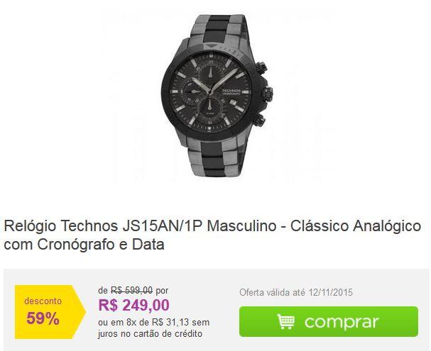 Relógio Technos JS15AN/1P Masculino - Clássico Analógico com Cronógrafo e Data << R$ 24900 em 8 vezes >>