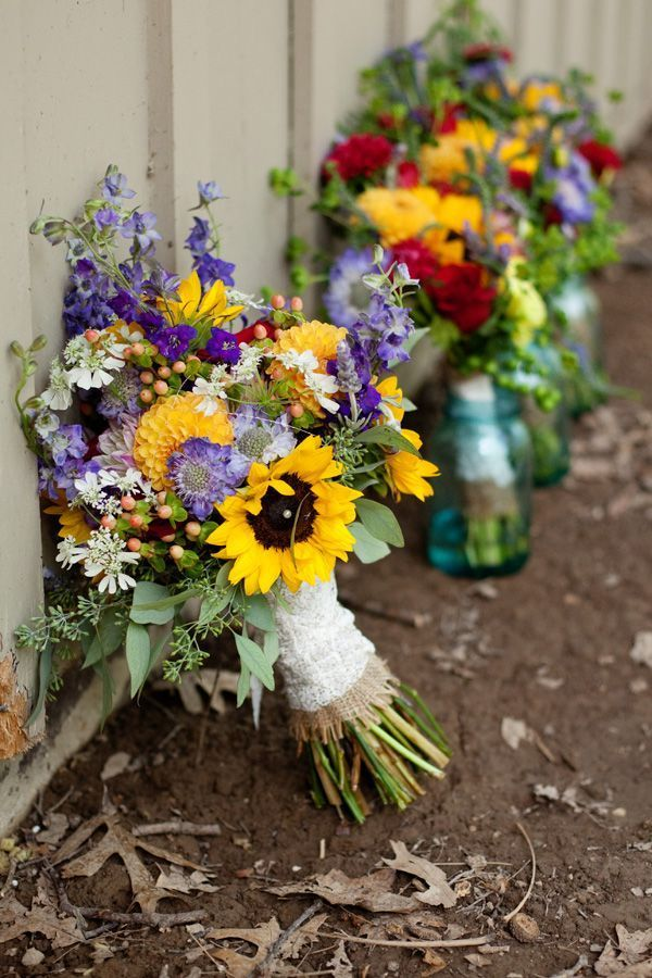 sunflower and wildflowers wedding bouquets: