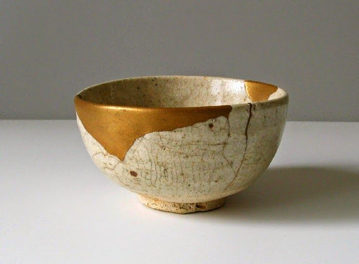 "Kintsugi (金継ぎ), meaning ""golden joinery,"" is the Japanese art of repairing broken pottery using gold. It restores functionality to a broken vessel, and not only adds beauty and worth, it turns destruction and damage into the most valuable part of the piece. The scars of the past are not erased or hidden away, to be ashamed of - they are transformed, immortalized in gold.❤️☀️"