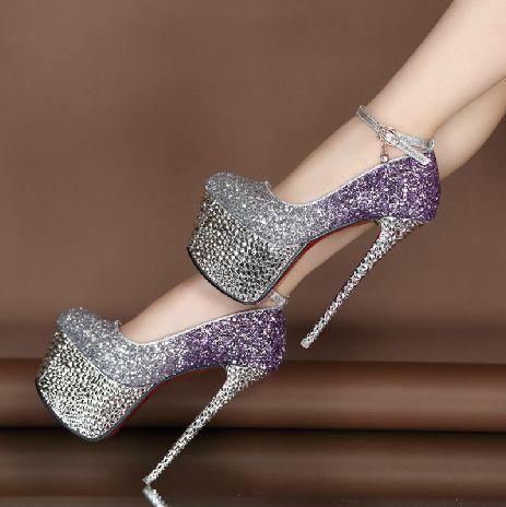 Good-looking Contrast Color Glitter Platform Heels