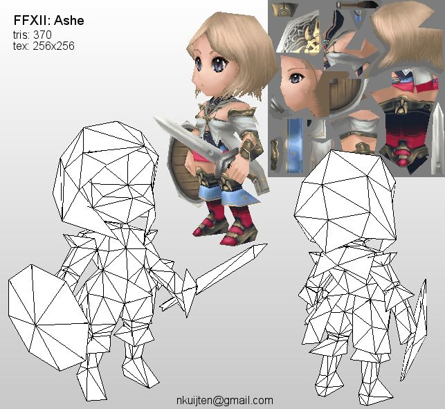 Lowpoly Ashe wireframe by Pyroxene.deviantart.com on @deviantART