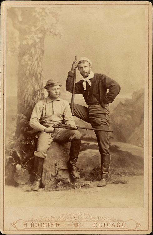 ca. 1880, [cabinet card, portrait of Theodore and Elliott Roosevelt in hunting outfits], H. Rocher