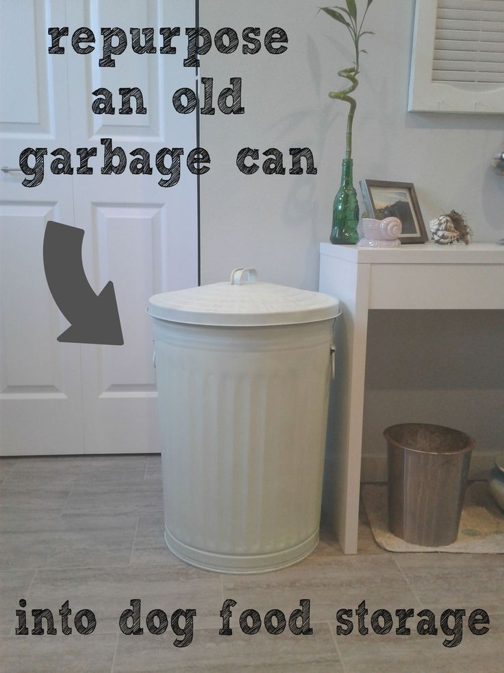 Great idea for dog food storage container.  Grab an old metal trash can and give it a facelift!  CrazyDiyMom.com