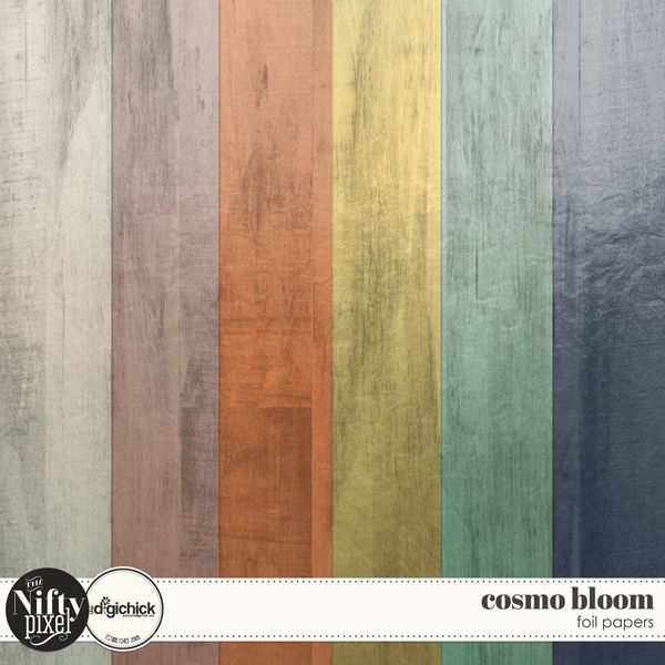 "Cosmo Bloom Foil Paper Pack by The Nifty Pixel This pack of foil woodgrain papers coordinate with the Cosmo Bloom collection. They are a pretty paper with a mettalic sheen giving them a hint of opulence.  PACK INCLUDES:  6X Foil Woodgrain Papers (12"" X 12"") All products are saved at 300ppi for optimum printing quality."