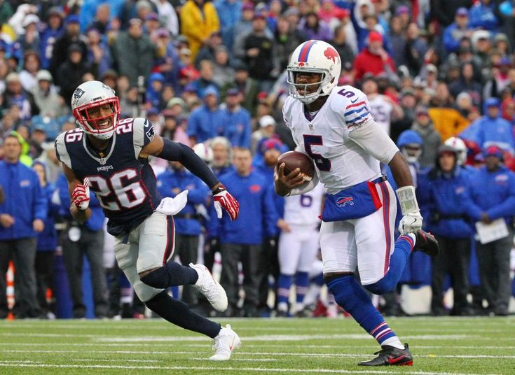 Patriots vs. Bills:  October 30, 2016  -  41-25, Patriots  -     Buffalo Bills quarterback Tyrod Taylor (5) runs past New England Patriots' Logan Ryan (26) for a touchdown during the second half of an NFL football game Sunday, Oct. 30, 2016, in Orchard Park, N.Y.
