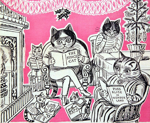 Cats on the cover of The Listener, line-drawn illustration, Edward Bawden.