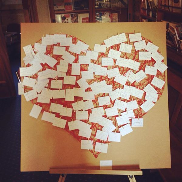 Love heart 'guestbook' - guests peg note cards of messages for bride & groom on a stringed heart ❤️