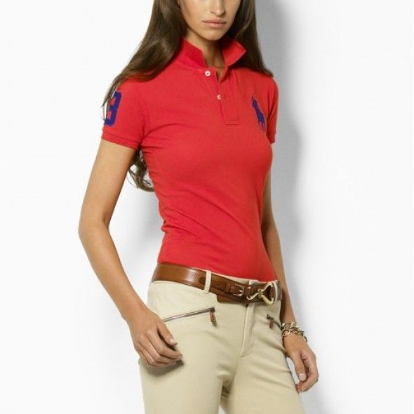 Ralph Lauren Women Red Soft Navy Big Pony Polo [rl 1129] - $40.14 :