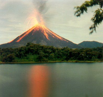 Arenal Volcano, Costa Rica  Although not as dramatic as this picture, I was very lucky to see a volcano erupting.