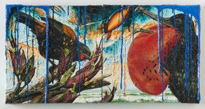 Geoff Dixon Infrequent visitor 1  oil and acrylic on canvas  300 x 600 mm  2014