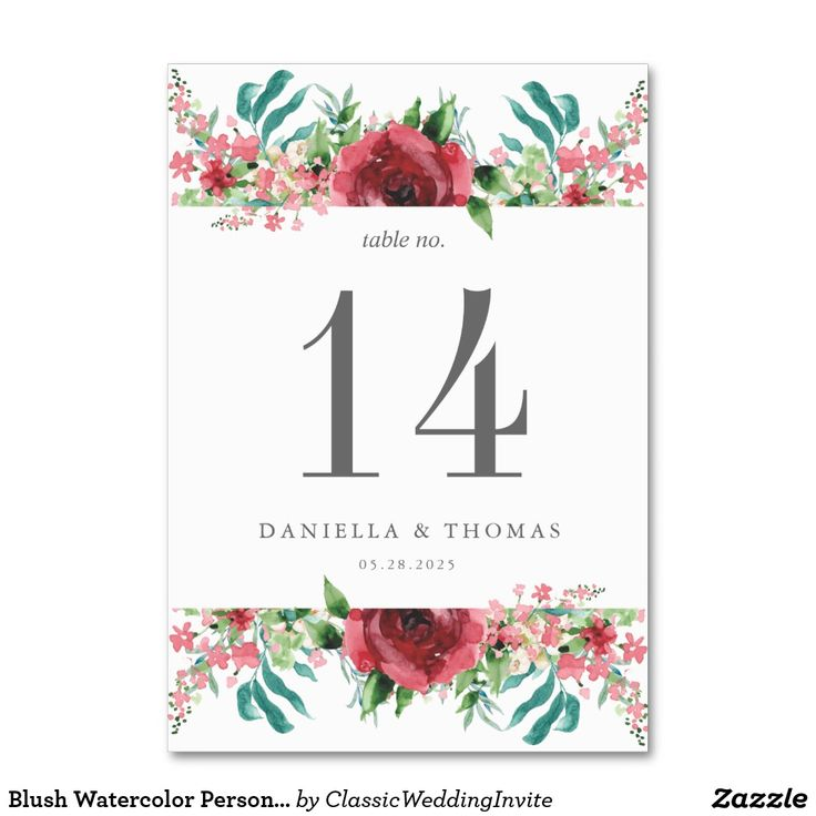 Blush Watercolor Personalized Table Number Card