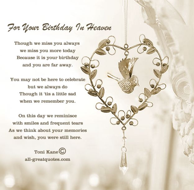 Free Birthday Cards For Lost Loved Ones - For Your Birthday In Heaven