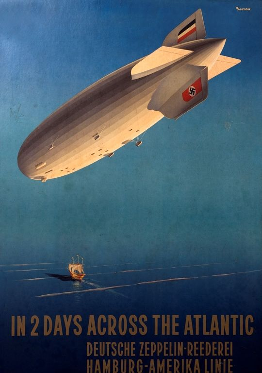 Commercial Poster transatlantic travel in the airship Hindenburg. - 1937