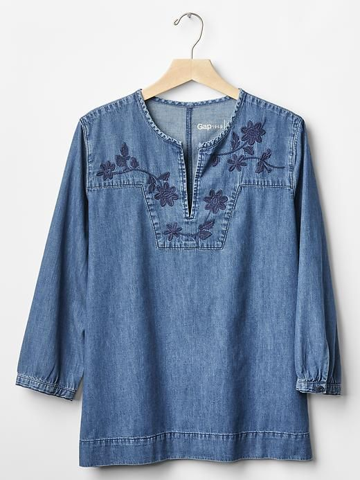 1969 denim embroidered split-neck top | Gap