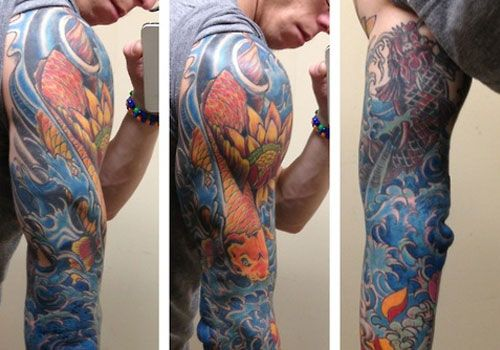 Tattoo Sleeves Of Oriental Koi And Lilies In Water