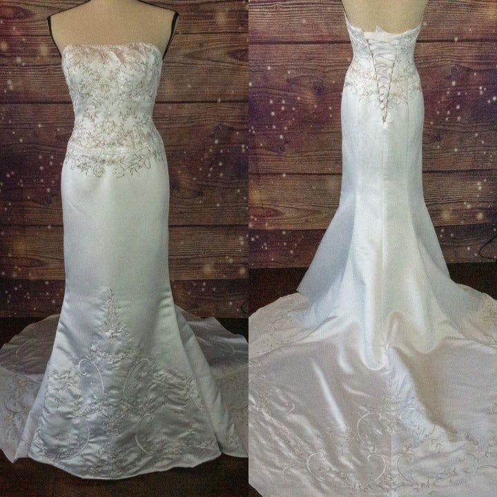 David S Bridal Satin Beaded Mermaid Wedding Gown Size 0 Color White Intricate Beading And Embroidery On Wedding Gowns Mermaid Bridal Satin Wedding Gown Sizes