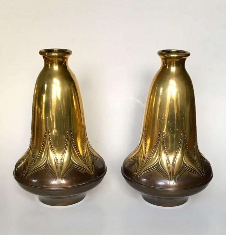 Vases design Meine Huisenga circa 1910 Executed by Daalderop Tiel. Dutch Nieuwe Kunst