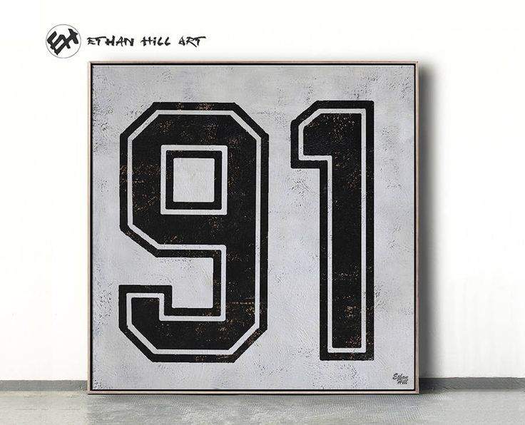Black and White Favorate numbers, Lucky number 91 Painting Large Canvas Art, hand painted Large Wall Art. FREE shipping -Ethan Hill Art #Z26