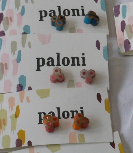 Earrings made from old coloring pencils. Love them! Spotted from the Recycling Factory in Helsinki, May 2012. Made by: Elli Hukka, sold by Paloni.