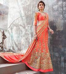 Light Orange Color Net Designer Sarees For Wedding : Navita Collection YF-30779