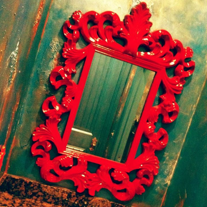 Glossy Red Queen of Hearts Mirror in Alice Inspired PowderRoom by SEGELQUISTDESIGN