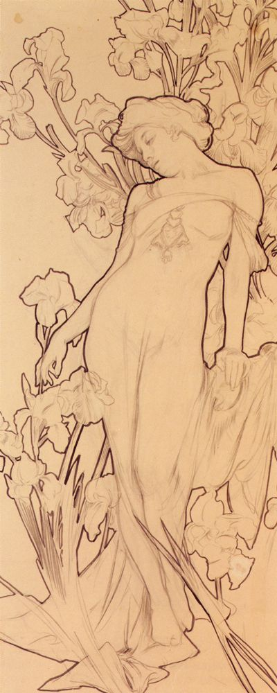 Iris - Alphonse Mucha  Again, highlighting major outlines and separation from background.