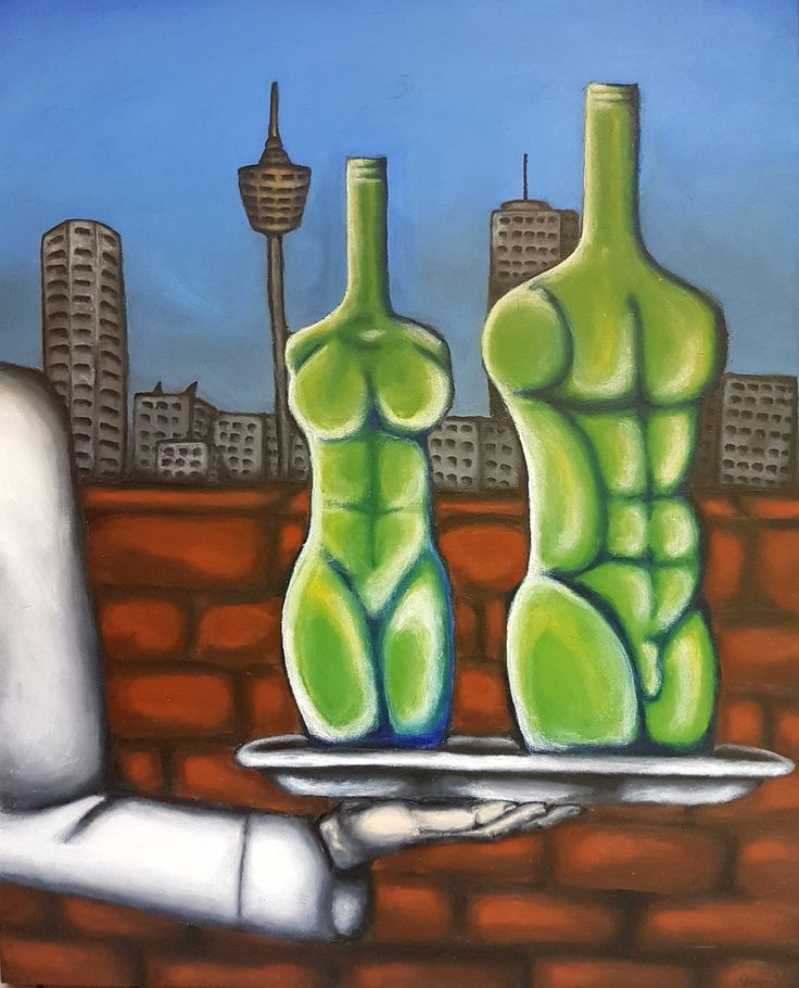Painting, acrylic painting, surrealism, silver platter, bottles, body shaped bottles.
