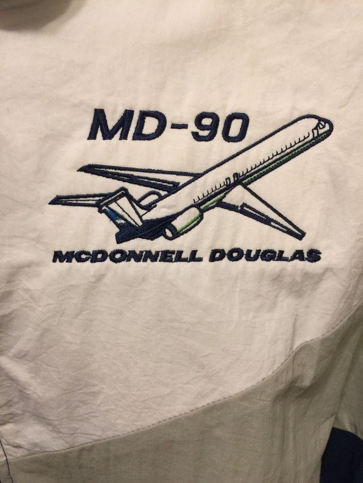 Vintage McDonnell Douglas MD-90 jet MENS jacket Large Windbreaker Airplane #JGSPORTSAPPAREL #Casual