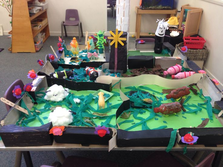 Farm created from recycled materials with kindergarten!