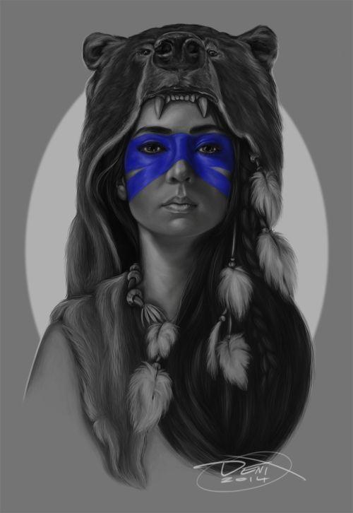 Resultado de imagem para Girl with Bear Headdress Tattoo