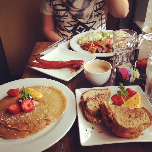 Sweet Maple Brunch -- where everything is delish except the wait is pretty killer on the weekends.  I liked the buttermilk pancakes and breakfast sandwich.  For those peeps who eat meat, the millionaire's bacon is famous!