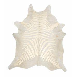 Rugs - Beige/Metallic Gold Zebra Stenciled Hide Rug - beige, gold, metallic, cowhide, rug