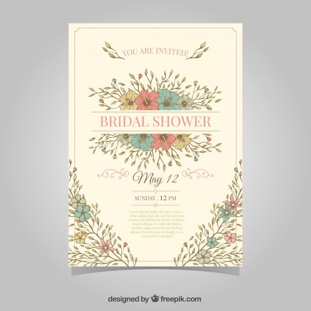 48 best freepik invites and announcements images on pinterest vintage bridal shower invitation with colored flowers stopboris Images