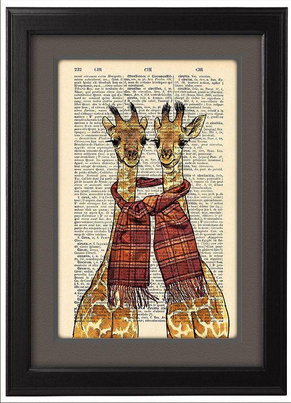 Deux girafes heureux, affiche drôle, dictionnaire imprimer affiche, affiche de joyeux cadeau de girafes, dortoir Collège Accueil mur décor, CODE/145