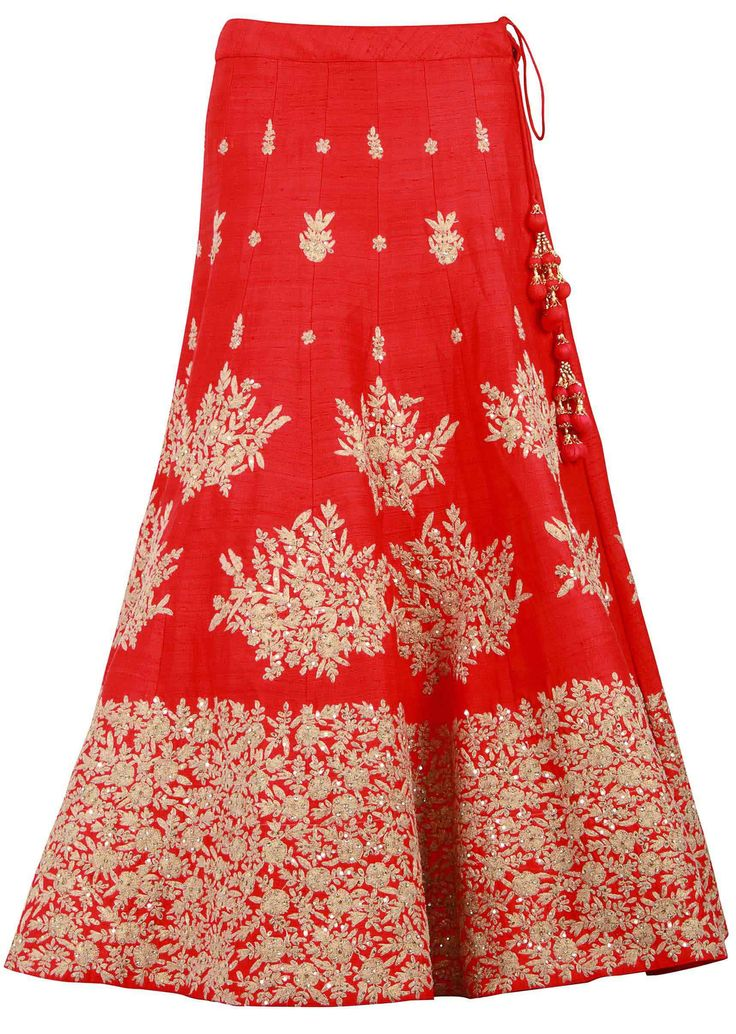 Red lehenga enhanced in kundan and zari embroidery only on Kalki